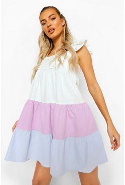 Lilac purple Colour Block Tiered Smock Dress