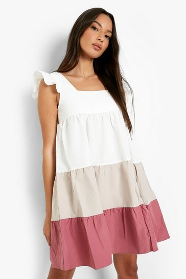 Pink Colour Block Tiered Smock Dress