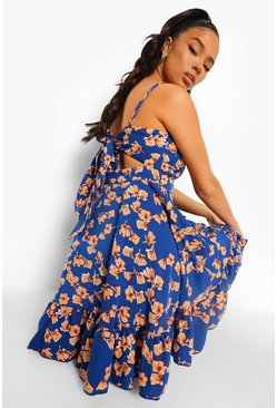 Navy Floral Print Tie Back Ruffle Swing Dress