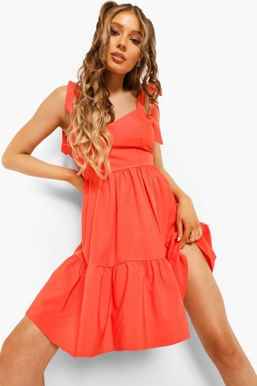 Red Scoop Back Strappy Swing Dress