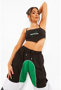 Black V Front Spaghetti Strap Crop Top