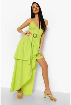 Lime green Ruffle Detail Wrap Maxi Dress