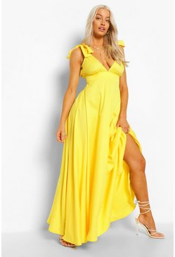 Yellow Tie Shoulder Plunge Maxi Dress