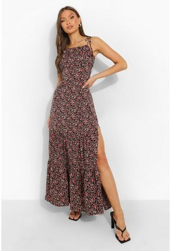 Black Ditsy Floral Gathered Bust Strappy Maxi Dress