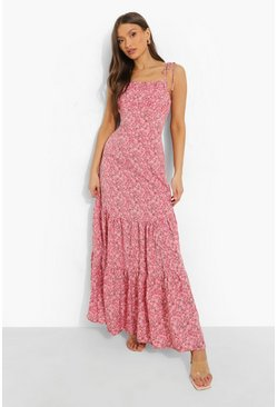Pink Ditsy Floral Gathered Bust Strappy Maxi Dress
