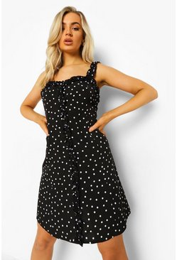 Black Polka Dot Ruffle Swing Dress