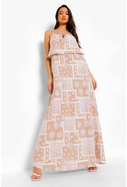 White Scarf Print Halterneck Maxi Dress