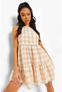 Stone beige Gingham Sleeveless Tiered Smock Dress
