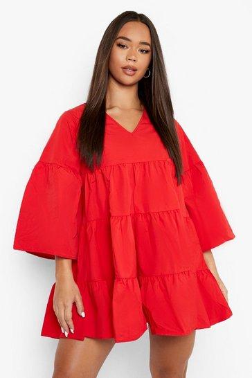 Red V Neck Tired Smock Dress