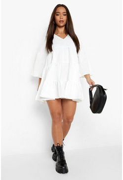 White V Neck Tired Smock Dress