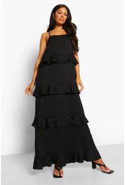 Black Strappy Tiered Ruffle Maxi Dress