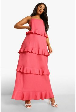 Coral pink Strappy Tiered Ruffle Maxi Dress