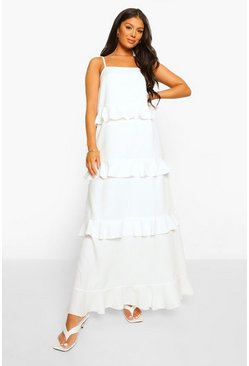 White Strappy Tiered Ruffle Maxi Dress