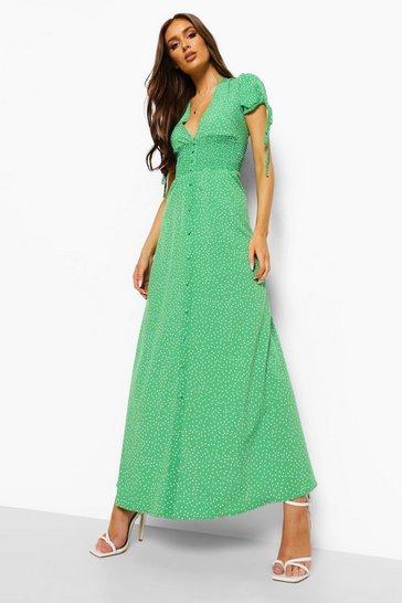 Green Polka Dot Shirred Waist Maxi Dress