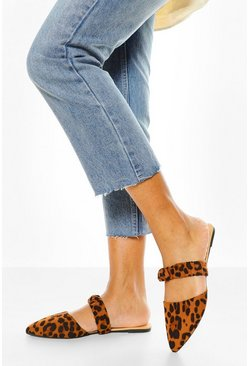 Leopard multi Wide Fit Ruched Band Mules