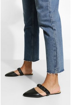 Black Wide Fit Ruched Band Mules