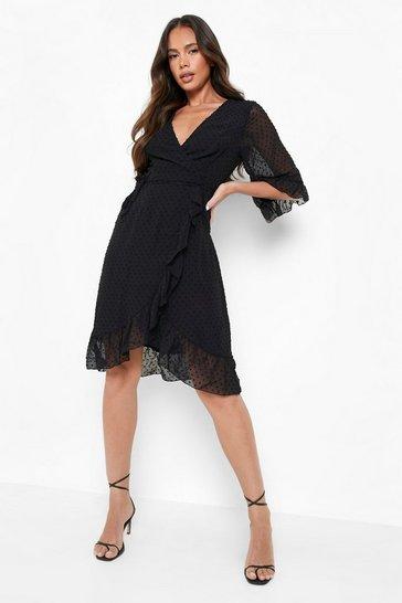 Black Dobby Chiffon Wide Sleeve Midi Wrap Dress