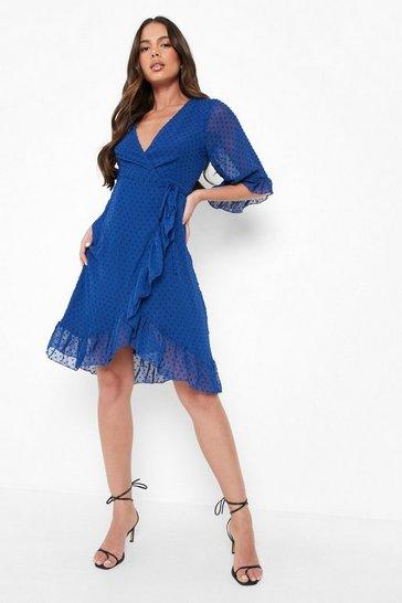 Cobalt blue Dobby Chiffon Wide Sleeve Midi Wrap Dress