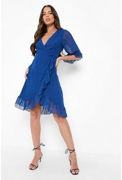 Cobalt blue Dobby Chiffon Wide Sleeve Midi Wrap Dress