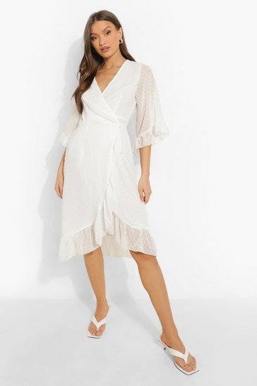White Dobby Chiffon Wide Sleeve Midi Wrap Dress