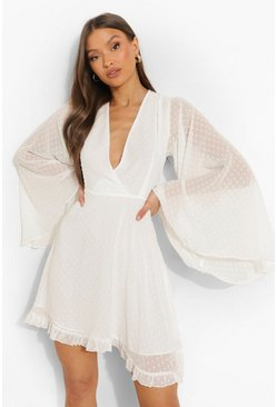 White Dobby Chiffon Wide Sleeve Skater Dress