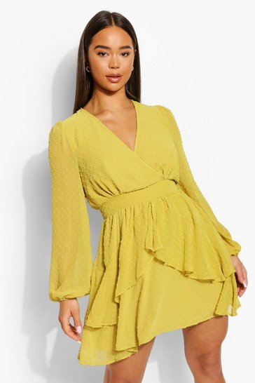 Chartreuse yellow Ruffle Hem Dobby Chiffon Mini Dress
