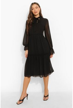 Black Dobby Mesh Pussy Bow Tiered Smock Midi Dress
