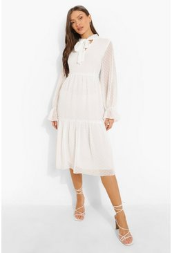 White Dobby Mesh Pussy Bow Tiered Smock Midi Dress