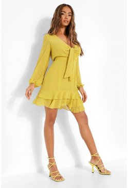 Chartreuse yellow Dobby Chiffon Tie Detail Skater Dress