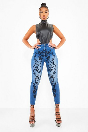 Mid blue blue Super Skinny Jeans With Western Embroidery