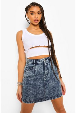 Dark blue Acid Wash Denim Skirt