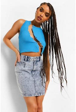 Light blue blue Acid Wash Denim Skirt