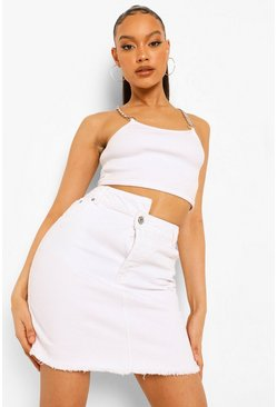 White Asymmetric Waistband Denim Skirt