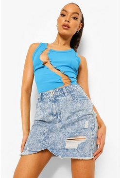 Mid blue blue Washed Distressed Raw Fray Hem Denim Skirt