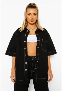 Black Oversized Contrast Stitch Denim Shirt