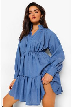 Mid blue blue High Neck Plunge Tiered Chambray Dress