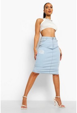 Light blue blue Distressed Denim Midi Skirt