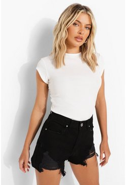Black Distressed Hem High Waist Denim Mom Short