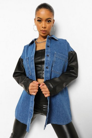 Mid blue blue Pu Coated Panelled Oversized Denim Shacket