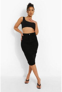 Black Stretch Denim Midi Skirt
