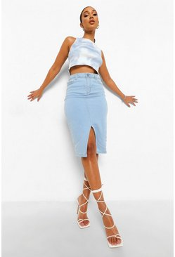 Light blue blue Split Front Midi Denim Skirt
