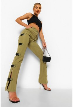 Khaki Buckle Side Skinny Cargo Trousers