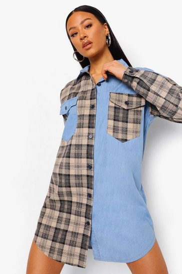 Light blue blue Check Denim Over Shirt