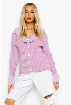 Lilac purple Faux Fur Trim Rib Knit Cardigan