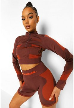 Chocolate brown Ofcl Seamfree Contour Extreme Crop Zip Up Top