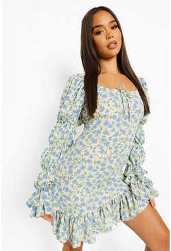 Blue Floral Print Puff Sleeve Drop Hem Mini Dress