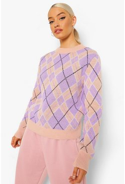 Lilac purple Pastel Check Sweater