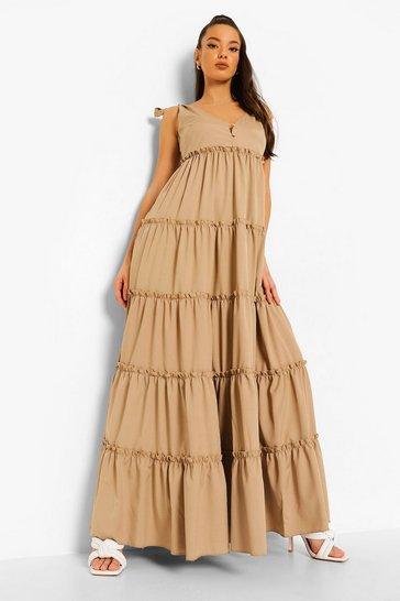 Stone beige Tiered Hem Strap Detail Maxi Dress