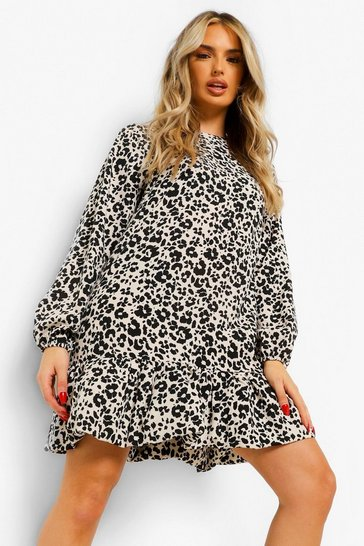 Stone beige Leopard Print Drop Ruffle Hem Shift Dress