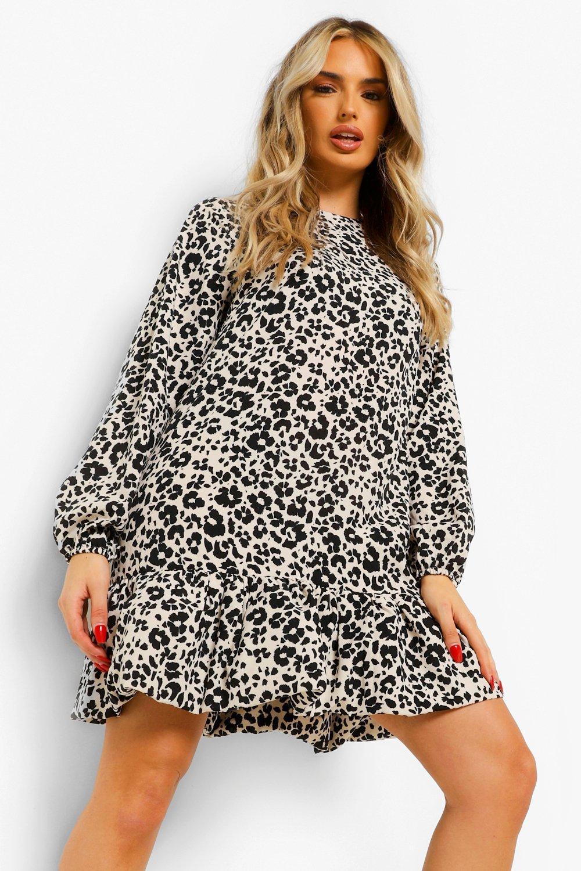 DRESSES Leopard Print Drop Ruffle Hem Shift Dress